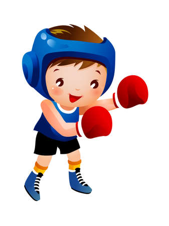Boy with boxing glove Vector