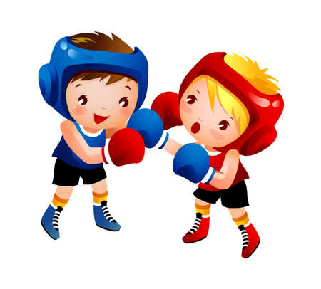 peleando: Chico y Chica Boxeo