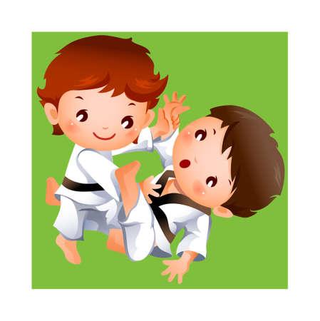 peleando: competencia de karate entre dos ni�os Vectores