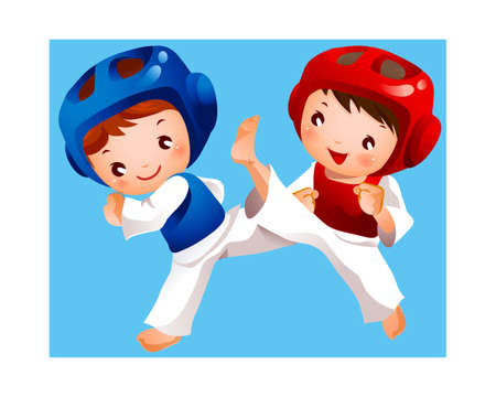 competition between two boys Stock Vector - 15946155