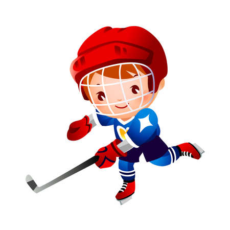 Boy ice hockey player  Vector