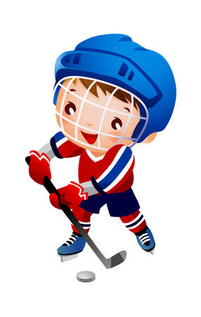Boy ice hockey player  Stock Vector - 15929559