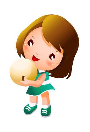 Girl holding bowling ball Stock Vector - 15910786