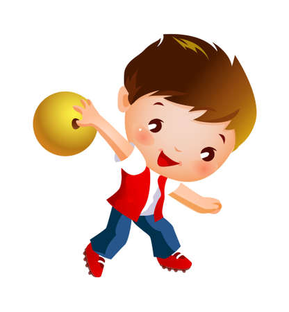 Boy holding bowling ball Vector