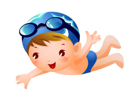 Boy Swimmer Stock Vector - 15910639