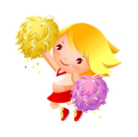 art activity: Girl cheerleader in uniforms holding pom-pom