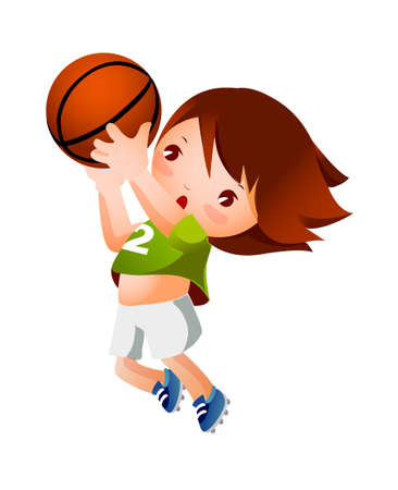 Girl throwing basketball Illustration