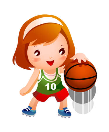 Girl bouncing basketball Illustration