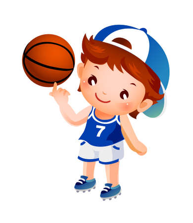 Boy spinning basketball on finger