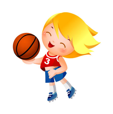 Girl holding basketball Vector
