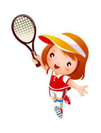 jugando tenis: Chica jugando tenis