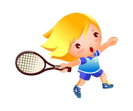 golpeando: Chica jugando tenis