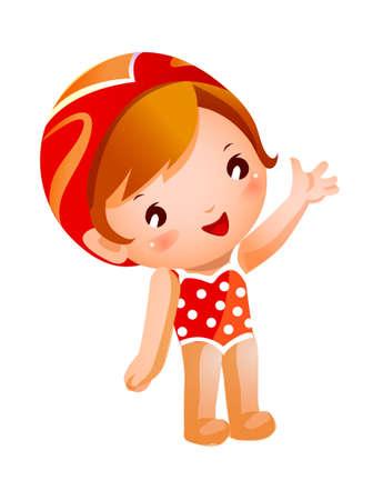 enfant maillot de bain: Portrait de jeune fille en maillot de bain