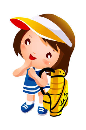 Girl carrying golf bag Vector
