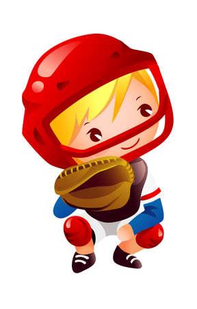 Boy in catcher position baseball Stock Vector - 15929513