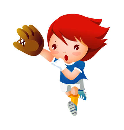 Girl playing baseball Stock Vector - 15904062