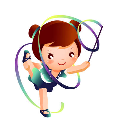 activity exercising: Girl practicing rhythmic gymnast performing with ribbon  Illustration