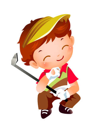 Boy with Golf Vector