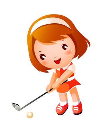 activity exercising: Girl playing Golf