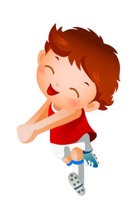 Boy sport player running Vector