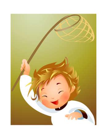 Child holding fishing net  Stock Vector - 15946156
