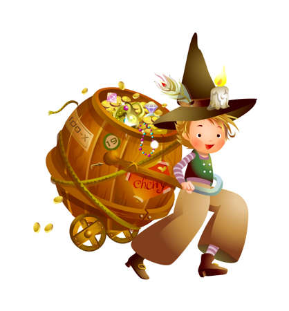 Boy pulling a cart full of coins  Vector