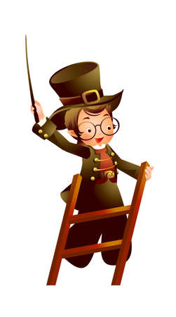 Magician on ladder Vector