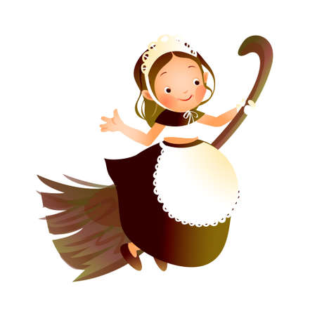 Girl flying on a broom Stock Vector - 15946424