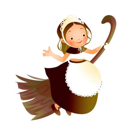 Girl flying on a broom