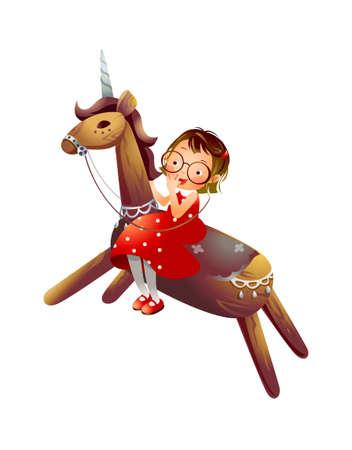 Girl riding a wooden unicorn  Stock Vector - 15947541