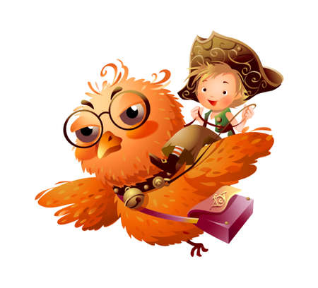 Boy riding an owl  Stock Vector - 15947496