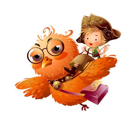 full day: Boy riding an owl