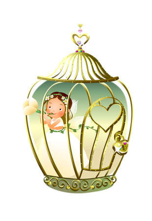 girl standing in a cage and holding a flower Stock Vector - 15947650