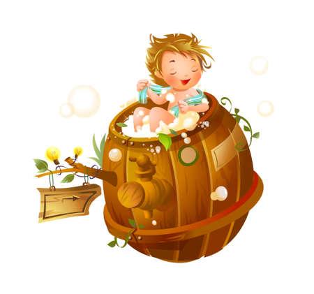 Boy taking a shower in a bathtub Stock Vector - 15947647