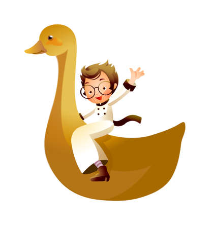 Girl riding on duck Stock Vector - 15947177