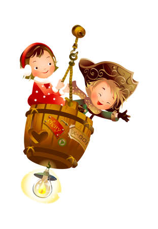 child holding sign: Boy and Girl sitting on hanging barrel