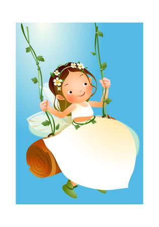 Girl swinging  Stock Vector - 15947372