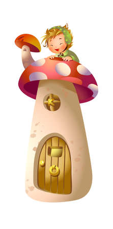 Boy on top of mushroom house Vector