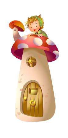 Boy on top of mushroom house Stock Vector - 15946967