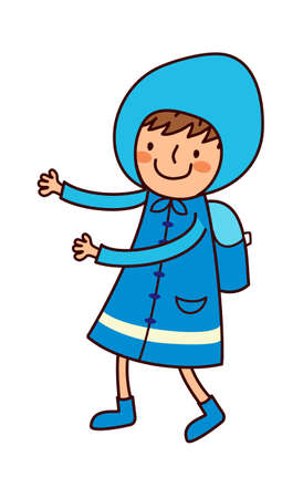 Portrait of Boy in raincoat Vector