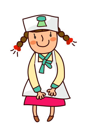Portrait of girl wearing nurse uniform Vector