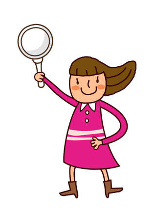 Portrait of girl holding magnifying glass Vector