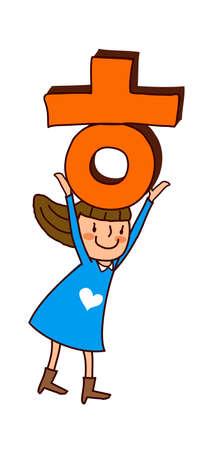 only baby girls: Portrait of girl holding alphabet O an T  Illustration