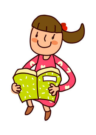 Portrait of girl holding book Vector