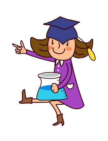Portrait of girl wearing graduation cap Vector