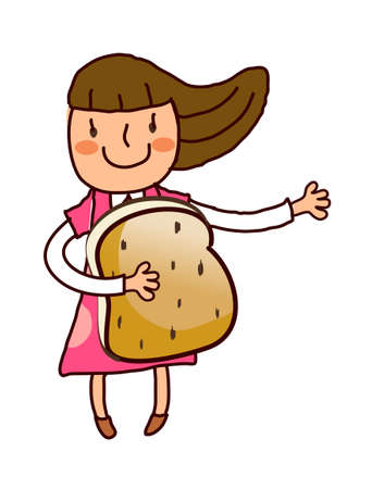 Portrait of girl holding bread Vector