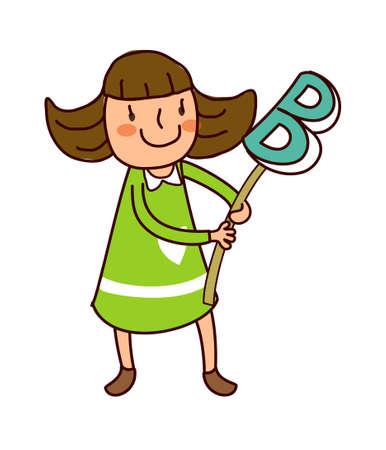 only baby girls: Portrait of girl holding alphabet B