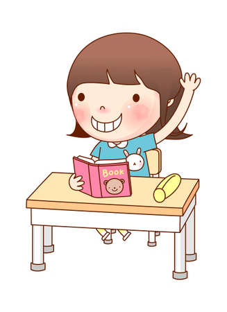 Portrait of Girl studying Stock Vector - 15903931