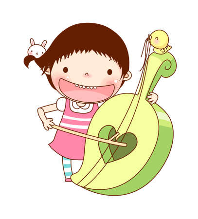 Portrait of girl playing violin Vector