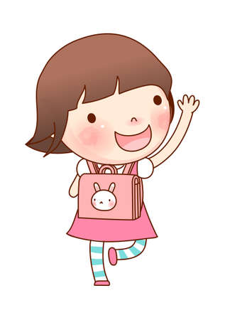 only baby girls: Portrait of girl with school bag Illustration